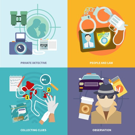 Police detective icons flat set with people and law collecting clues observation isolated illustration Vector