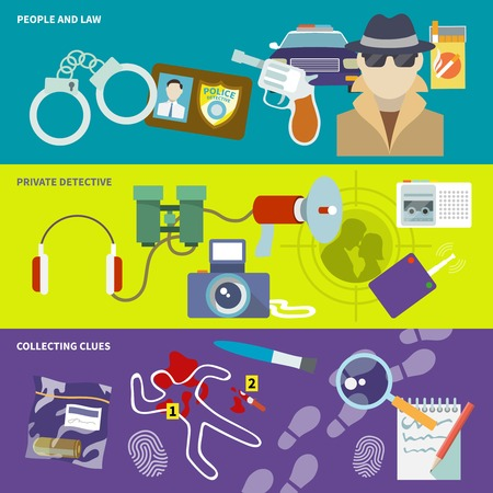 Police detective banner set with people and law collecting clues observation isolated illustration Vector