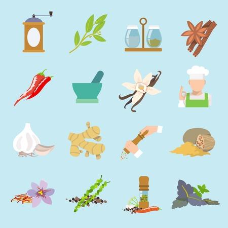epices: Herbes et �pices ic�nes forfaitaire pr�vu de gingembre piment ail illustration isol�. Illustration