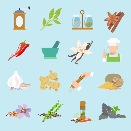 spices: Herbs and spices flat icons set of ginger chili pepper garlic isolated illustration.