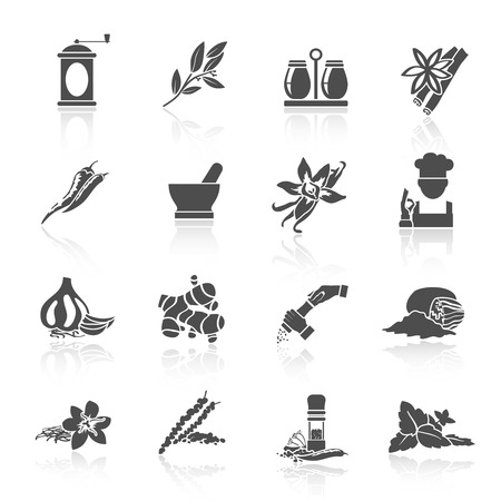basil leaf: Herbs and spices black icons set of vanilla basil nutmeg isolated illustration Illustration