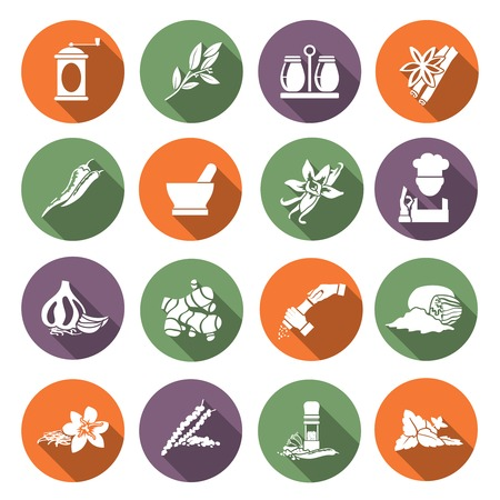 spice: Herbs and spices flat icons set of chef cook culinary ingredients isolated illustration