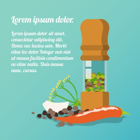 pepper grinder: Pepper mill poster with dill garlic chili pepper spices flat set illustration