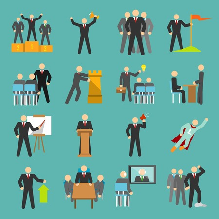 Leadership management teamwork conference and presentation icons flat set isolated illustration Vector