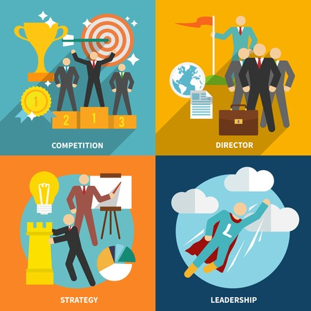 Leadership flat icons set with competition director strategy isolated illustration Vector