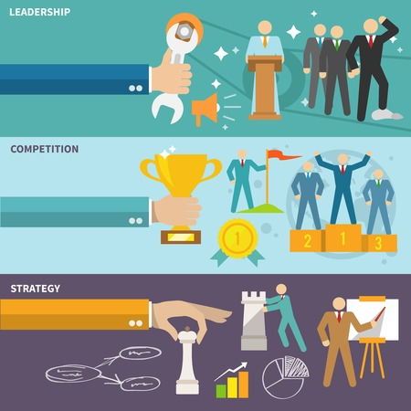 Leadership flat banners set with competition strategy isolated illustration Vector
