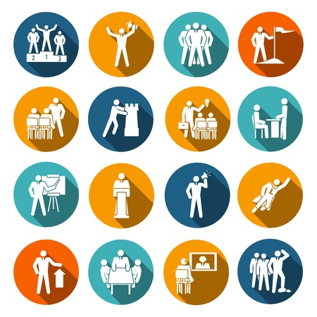 discourse: Leadership flat icons set with conference manager report planning isolated illustration