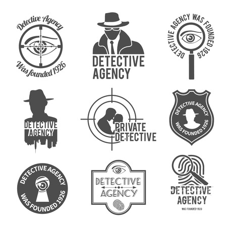 Police private premium detective agency black labels badges and stamps set isolated illustration Vector