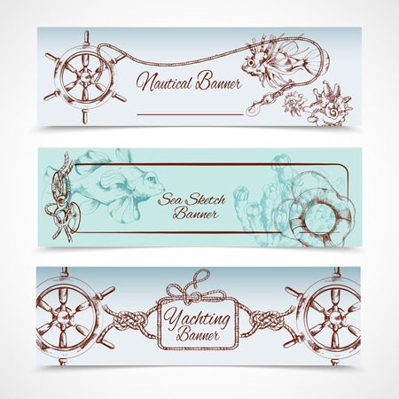 Yachting ocean nautical sketch horizontal banner set with steering wheel fish horse isolated illustration
