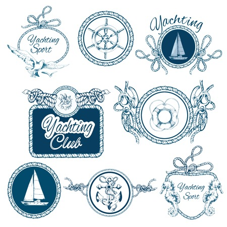 Yachting sea travel and sport sketch emblems set with rope frames isolated illustration Vector