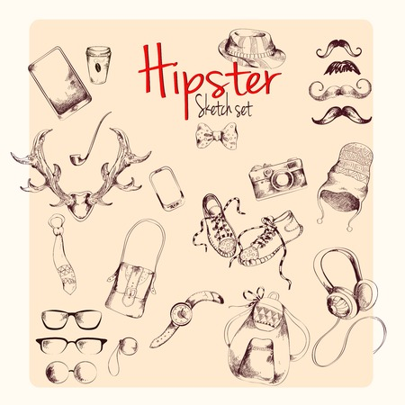 bowtie: Hipster character pack sketch set with moustaches and accessory isolated illustration Illustration