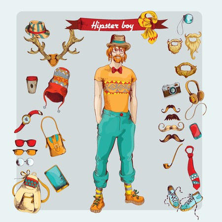 trendy male: Hipster boy pack sketch retro decorative icons set with male geek isolated illustration