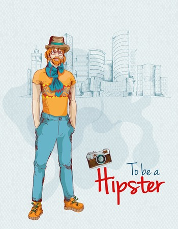 constructor: Hipster boy young man colored sketch character with city background illustration Illustration
