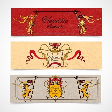 Heraldic design colored retro monogram sketch horizontal banners set isolated illustration. Vector