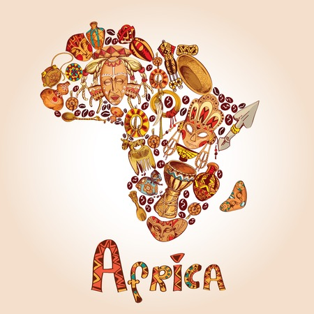 africa tree: Africa sketch decorative icons in african continent shape travel concept illustration