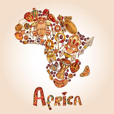 tribu: África dibujar iconos decorativos en forma de continente africano concepto de viaje ilustración Vectores