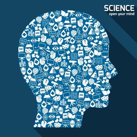 sociologia: Áreas de ciencias iconos en forma de cabeza humana abren su mente concepto ilustración.