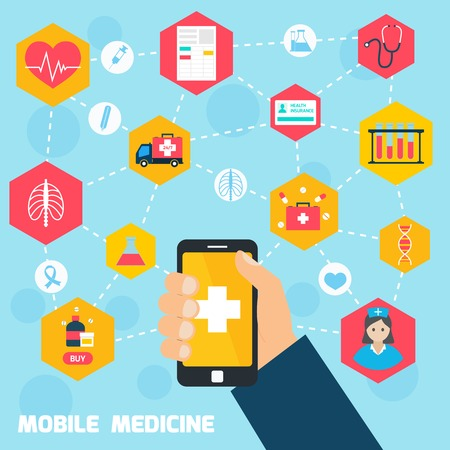 pharmacy icon: Mobile health concept with human hand holding smartphone and medicine icons connected illustration Illustration