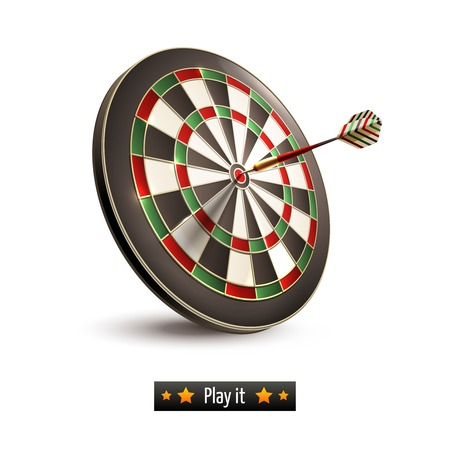 Darts board goal target competition realistic isolated on white background illustration