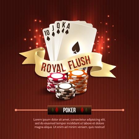 cartas de poker: El juego de casino Pocker conjunto con tarjetas chips y cinta de flash real sobre fondo rojo ilustración