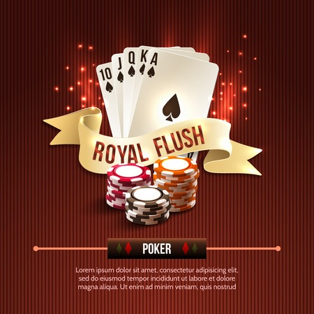 royal background: Pocker casino gambling set with cards chips and royal flash ribbon on red background illustration