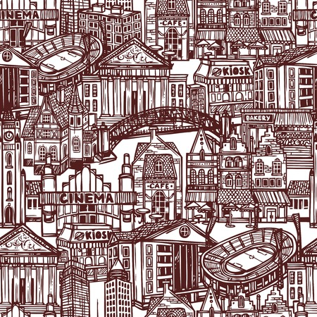 Sketch city decorative monochrome seamless pattern with office and government building illustration Vector