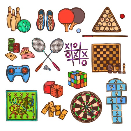 gambling chips: Sport and gambling games sketch colored decorative icons set isolated illustration