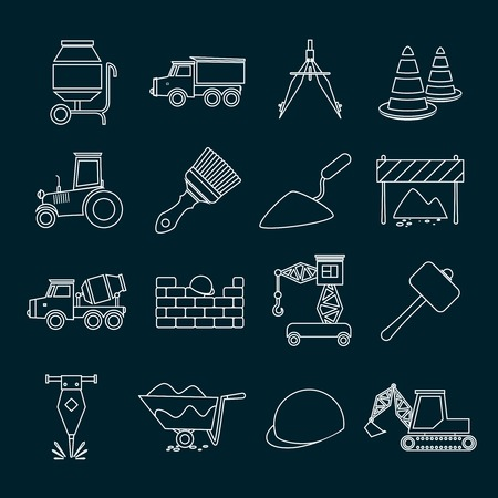 Construction tools industrial outline icons set isolated illustration Vector