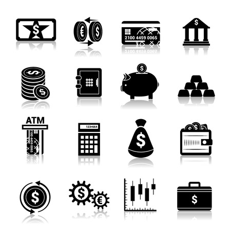 Bank service money black icons set with cash banknote and coins isolated illustration Vector
