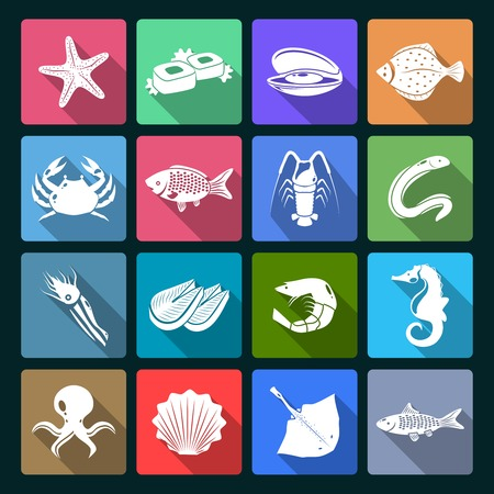 Seafood icons white set with shellfish crab squid oyster isolated illustration Vector