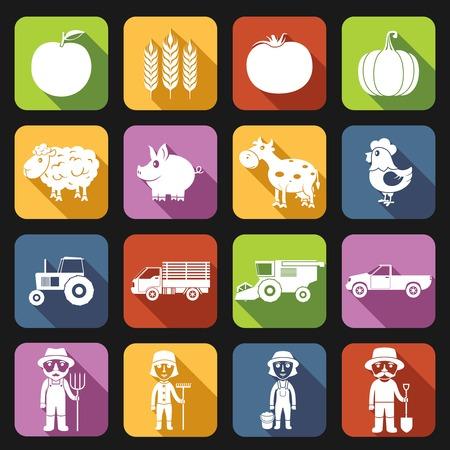 Farm agriculture farmer avatar flat icons set isolated illustration Vector