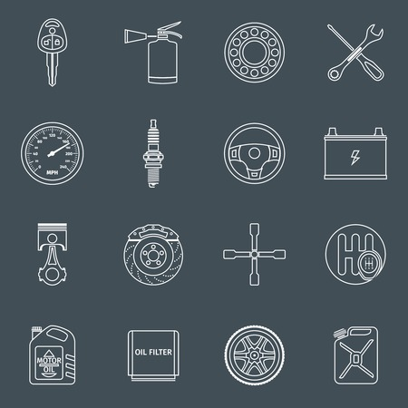 Car system vehicle parts technology auto repair outline icons set isolated illustration. Vector