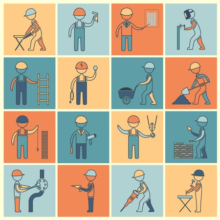Construction worker industrial professionals silhouettes icons flat line set isolated illustration