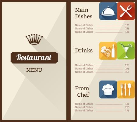 main dishes: Men� del restaurante folleto de papel con la lista de platos elementos decorativos ilustraci�n