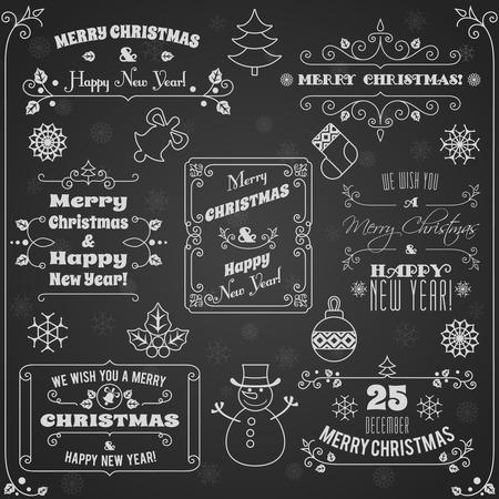 Buon Natale e felice nuovo anno decorazione vacanze lavagna etichette illustrazione set Vettoriali
