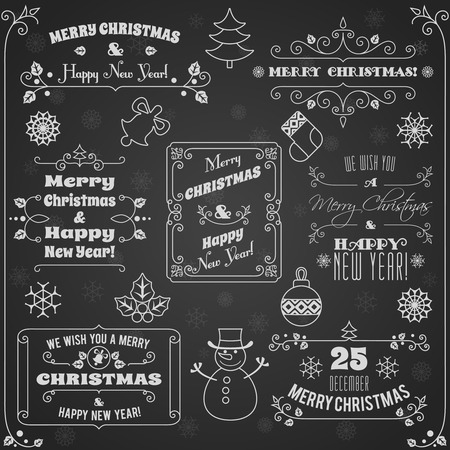 decoration style: Merry christmas and happy new year holiday decoration chalkboard labels set illustration Illustration