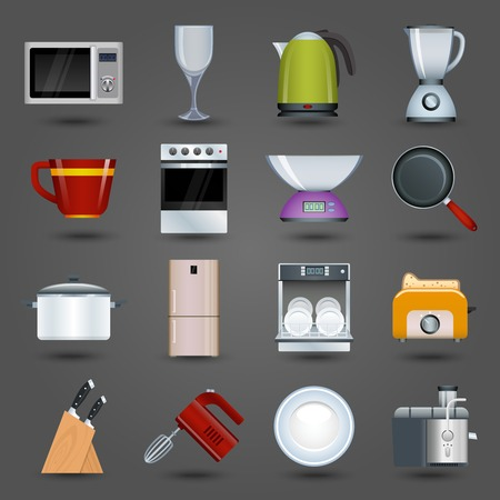 Realistic kitchen appliances icons set with microwave wine glass kettle blender isolated illustration Vector