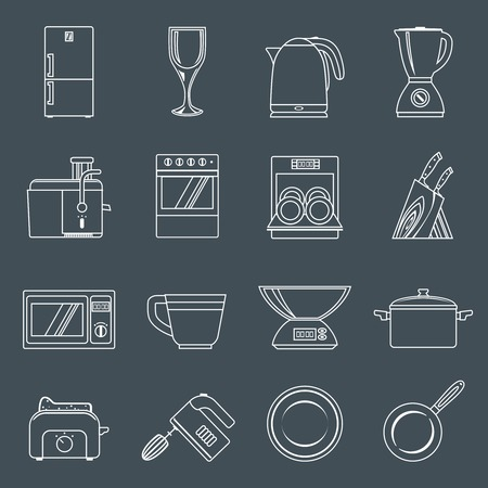 toaster: Kitchen appliances icons outline set with toaster mixer dish frying pan isolated illustration
