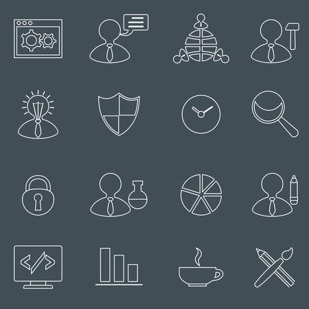 search optimization: SEO mobile computer network website search optimization outline icons set isolated illustration Illustration