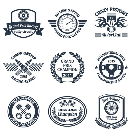 pistons: Grand prix racing crazy pistons motorclub black emblems set isolated illustration Illustration