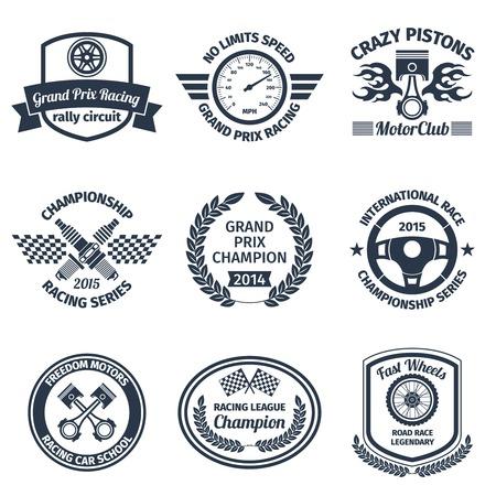 racing: Grand prix racing crazy pistons motorclub black emblems set isolated illustration Illustration