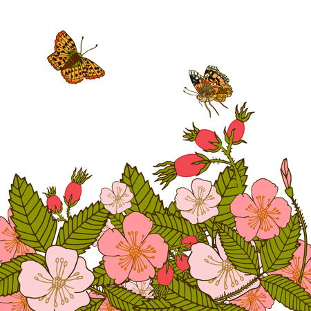 butterflies abstract: Vintage romantic abstract summer flower branches background with flying butterflies illustration.