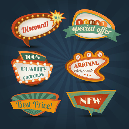 mega: Retro sale discount speech bubble special offer set isolated vector illustration