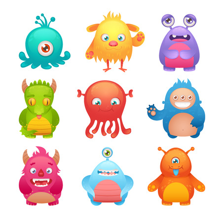 alien face: Cute cartoon monsters funny alien character icons set isolated illustration