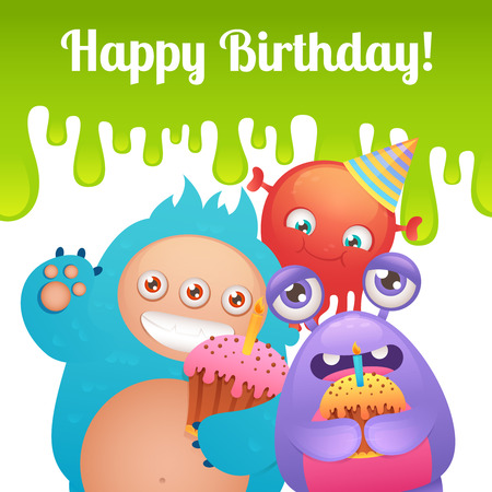 Cute cartoon monster party funny alien characters with cakes happy birthday card template illustration Vector