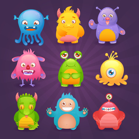 alien face: Cute cartoon monsters funny alien character icons set isolated on dark background illustration