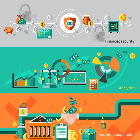 analytic: Finance banner set with financial security analytic business cooperation isolated illustration Illustration