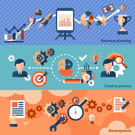 sales process: Creative process banner set with business planning development isolated illustration Illustration