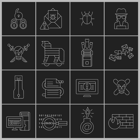 criminal activity: Hacker web security icons outline set with cyber crime elements isolated vector illustration