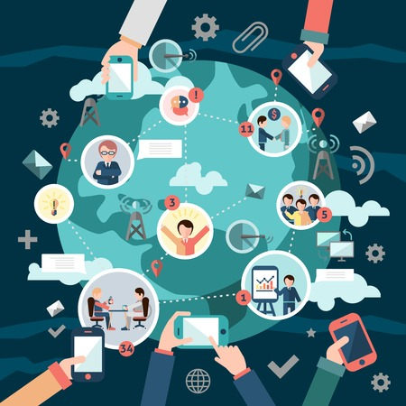 network devices: Social media network concept with business people avatars and hands holding mobile devices illustration